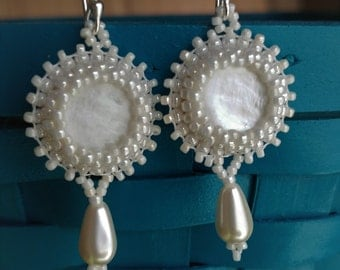 Mother of Pearl Bead Embroidered Earrings