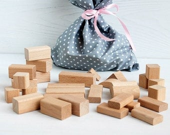 30 Wooden blocks in cotton bag, Wooden toy, Baby and Toddler toys, Wooden Building Blocks set, Building Block, Toddler toy, Wood toys