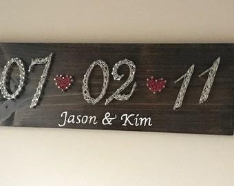 Anniversary/Wedding date string art