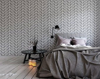 Removable Wallpaper Herringbone Wallpaper Geometric Peel and stick Self adhesive Grey Vinyl Wallpaper Custom Colors Available CC004
