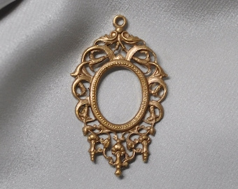 Vintage French Ornate Die Cast Baroque Brass Open Back Portrait or Stone Setting 326J