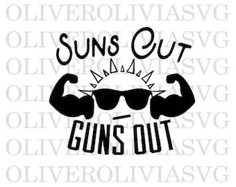Suns out Guns out Svg Cutting File fishing Svg Summertime Cutting File Silhouette Cutting File Cricut Cutting File SVG DXF PNG File Suns out