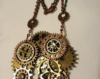 Mixed metals Steampunk necklace