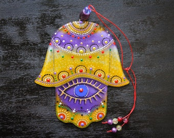 Hamsa hand; Hamsa wall decor; Khamsa; Sacred Protection Symbol Decor, Fusion Glass, Нand Painted