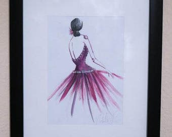 Ballerina 11x8/ Ballerina painting/ illustration / acrylic art/ acrylic painting