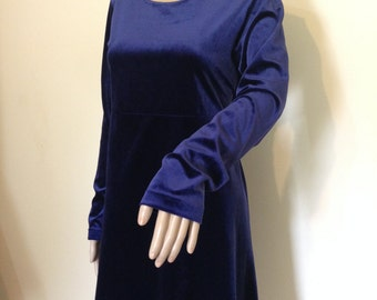 Vintage Midnight Blue Velvet Dress Large
