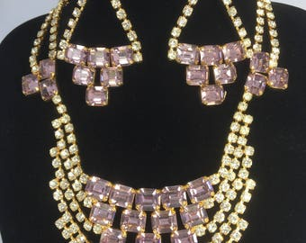 Amazing 1980s OTT lilac crystal necklace and earrings set ...