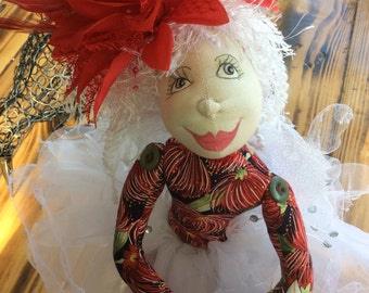 Sitting fairy,NZ themed fairy,unique handmade gift,OOAK,Cloth doll,textile doll,Pohutakawa Sister 1