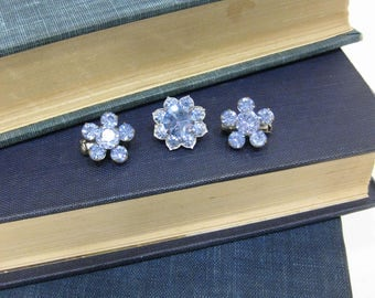 "Vintage Tiny ""Something Blue"" Crystal Pin Set"