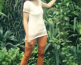 Tribal Block Print Leggings Organic Cotton Copper/Brown