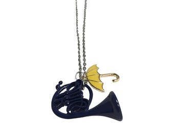Blue French Horn And Yellow Umbrella Necklace How I Met Your Mother Pendants HIMYM TV Show Gift Jewelry Ted Mosby Robin Barney High Quality