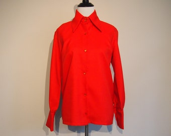 Vintage 1970's Blouse; Red Blouse