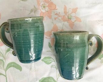 POTTERY coffee cup handmade ceramic mug turquoise blue set of two tea lot rustic earth toned earthy stoneware drinkware hand crafted