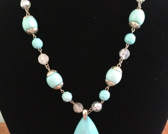 Vintage Aqua Beaded Necklace