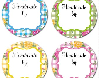 HANDMADE by stickers - 60mm diameter, floral & gingham design, 4 colours available