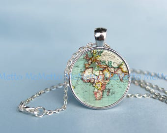 World map necklace etsy world map pendantold world map necklace wedding jewelry planet earth necklace anniversary gift gumiabroncs Gallery