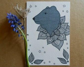 hand drawn bear head illustration - original postcard art - grey bear - a6 - mandala style