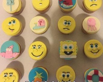 Spongebob Square Pants Edible Gumpaste / Fondant Cupcake Toppers (12)
