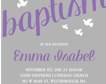 Printable Baptism Invitation, Girl Baptism Invitation, Christening Invitation Boy baptism Invitation, Dove Baptism Invitation