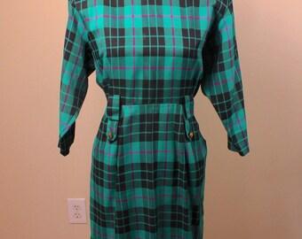 Vintage 80's Green Plaid Secretary Dress
