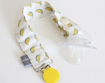 Pacifier clip - snap - enamel clip - yellow lemon - lime - yellow - green - cotton fabric - baby - baby gift - baby shower - dummy