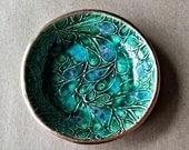 Ceramic Ring Bowl jewelry dish Ring dish ring holder Peacock Green Gold edged