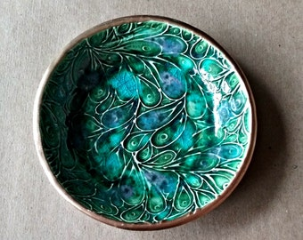 Ceramic Ring Bowl jewelry dish Ring dish ring holder Peacock Green Gold edged
