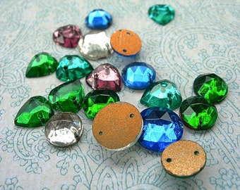 Vintage Glass Sew-ons Gold Foil backs lot of 18 sapphire emerald amethyst crystal faceted Hearts 8mm & 12mm