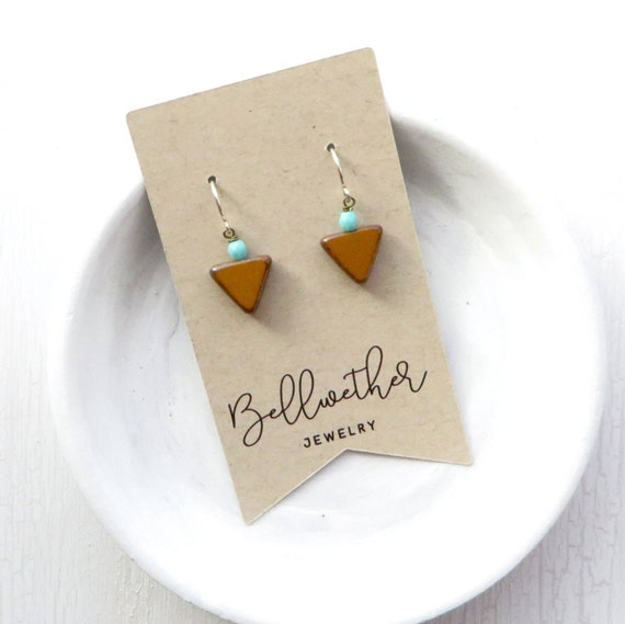 Small Angle Earrings - Mustard