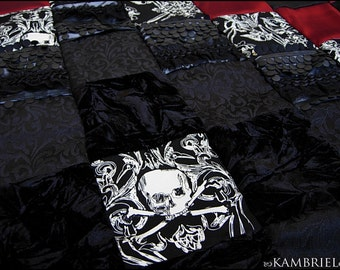 Danse Macabre - Gothic Victorian Patchwork Coverlet by Kambriel - Brand New & One of a Kind - Made with 350 pieces of fabric - Ready to Ship