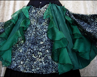 Earthly Delights - One of a Kind Flared Skirt by Kambriel - Black Floral Batik - Emerald Green Organza Ruffles - Brand New & Ready to Ship!