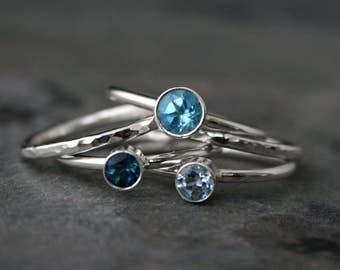 Ocean Blue Stacking Rings, Swiss Blue London Blue Topaz Sky Blue Topaz Faceted Gemstone, Sterling Silver Stack of 5 Jewel Gem Stackable Band