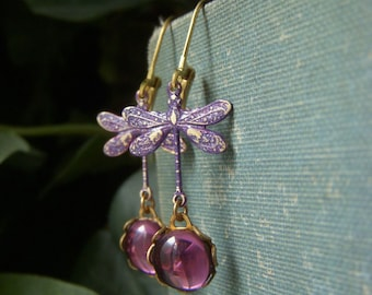 Amethyst Dragonfly Earrings, Brass Art Nouveau Dangle, Amethyst Purple Cabochon Earrings, Glass Cabochon Earrings, Patina Dragonfly