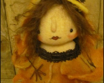Harvest Fall Leaf Fairy Thanksgiving Doll low brow Whimsical cottage chic shabby primitive creepy cute country decor Farm Quirky  ofg team