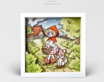 Diorama Little Red Riding Hood, 3D Print, Kokomo Frame, Fairy tale theatre