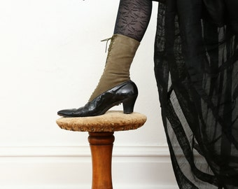 SALE Victorian Suede Boots Calf Length