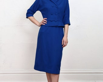 SALE - 1960s Wool 2pc. Blue Skirt Suit and Blazer Set.  Office Attire