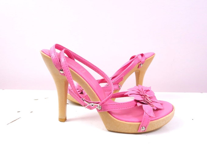 Vintage Pink Heels - 1990s Bakers Pink Leather Strappy Heels Made in Italy Womens Size 6 - Pink Leather Heels