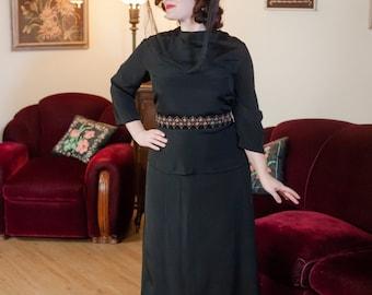 Vintage 1940s Dress - Classic Black Rayon 40s Peplum Dress for Taller Gals