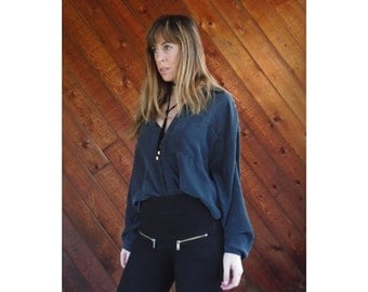 Black Silk Oversized Button Down Shirt - Vintage 90s - LARGE