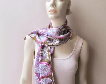 vintage vera long silk scarf paisley pink lavender olive brown
