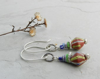 Antique Glass Striped Trade Bead Stack & Sterling Link Earrings-Blue white green and red