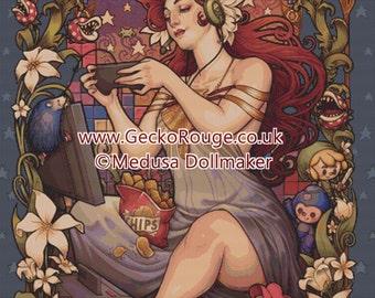 Extra Large - Cross stitch 'Gamer Nouveau' Medusa Dollmaker' - Modern Art Needlecraft Set with DMC Materials - Counted cross stitch, Gaming