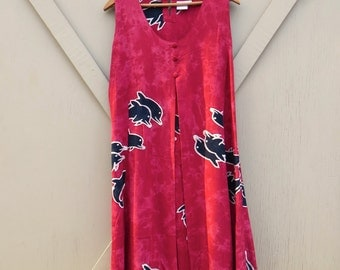 Hawaiian vintage Red Batik Style Dolphin Print Sleeveless Rayon Dress / Island Style Collection Honolulu / made in Indonesia