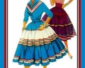 Vintage 1954-SQUAW DRESS-Sewing Pattern-V Neckline Blouse-Kimono Sleeves-Wing Collar-Tier Skirt-Rick-Rack Trim-Cummerbund-Size 14-Uncut-Rare