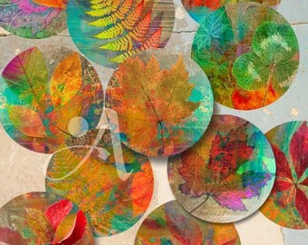 """3.5"""" size circle images Printable download AUTUMN LEAVES Digital Collage Sheet for Pocket Mirrors, Coasters, Paper Weights. ArtCult designs"""