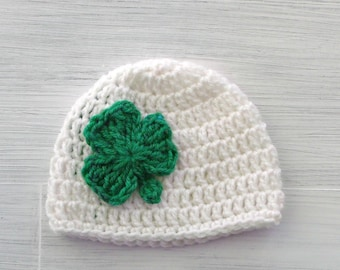 St Patricks Day Shamrock Hat, Crochet Shamrock Baby Hat, Irish Baby Hat, Shamrock Newborn Baby Hat, Baby Shower Gift