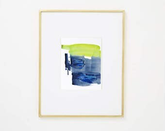 "Original Abstract Landscape Art on Paper, blue, green, yellow, 8 x 10""  ""Painting 946"" minimal modern contemporary watercolor fine art"