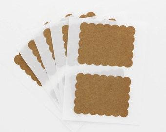 Kraft Blank Label Sticker Scallop Rectangle