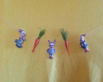 Easter Garland-Spring Banner-Vintage Rabbit Images-Carrots